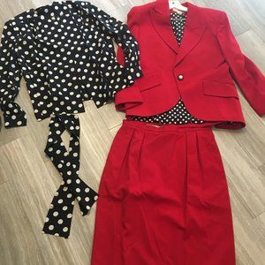Vintage Christian Dior Red Wool Skirt Suit 3 PC 14